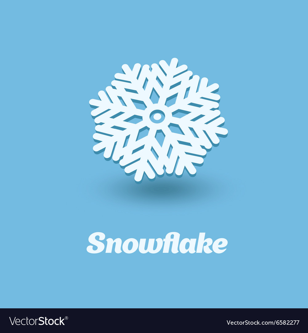 3D snowflake isolated on blue background