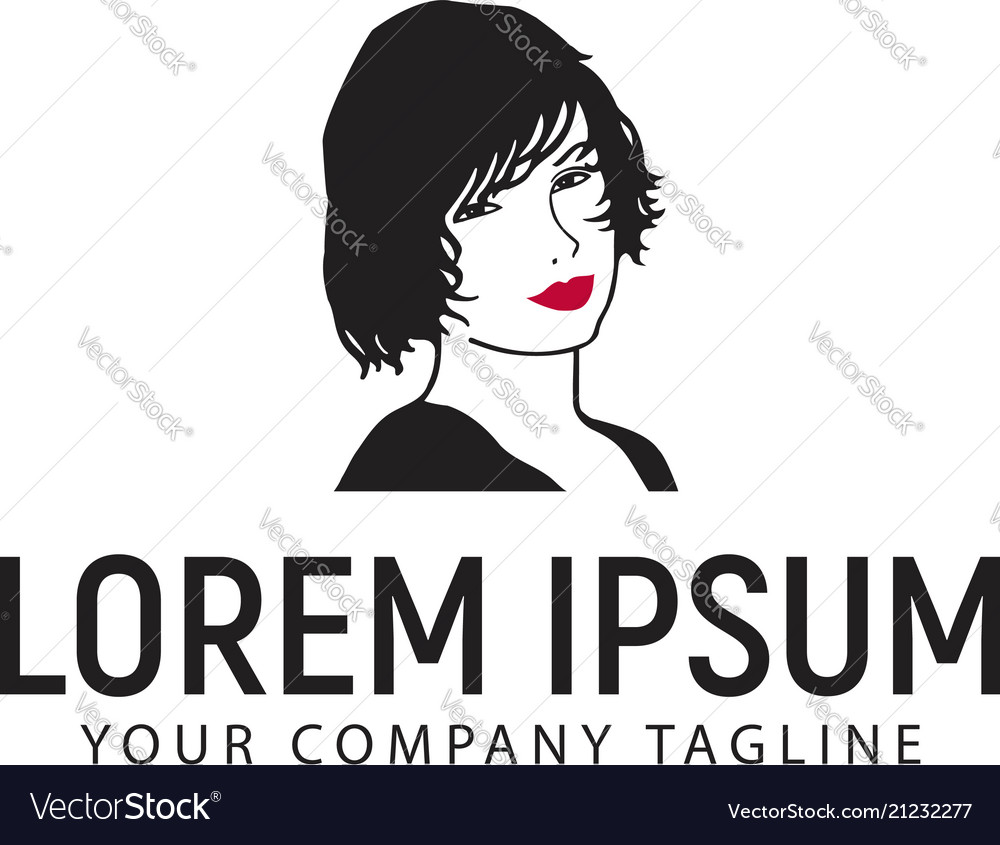 Beauty woman with red lip logo design concept
