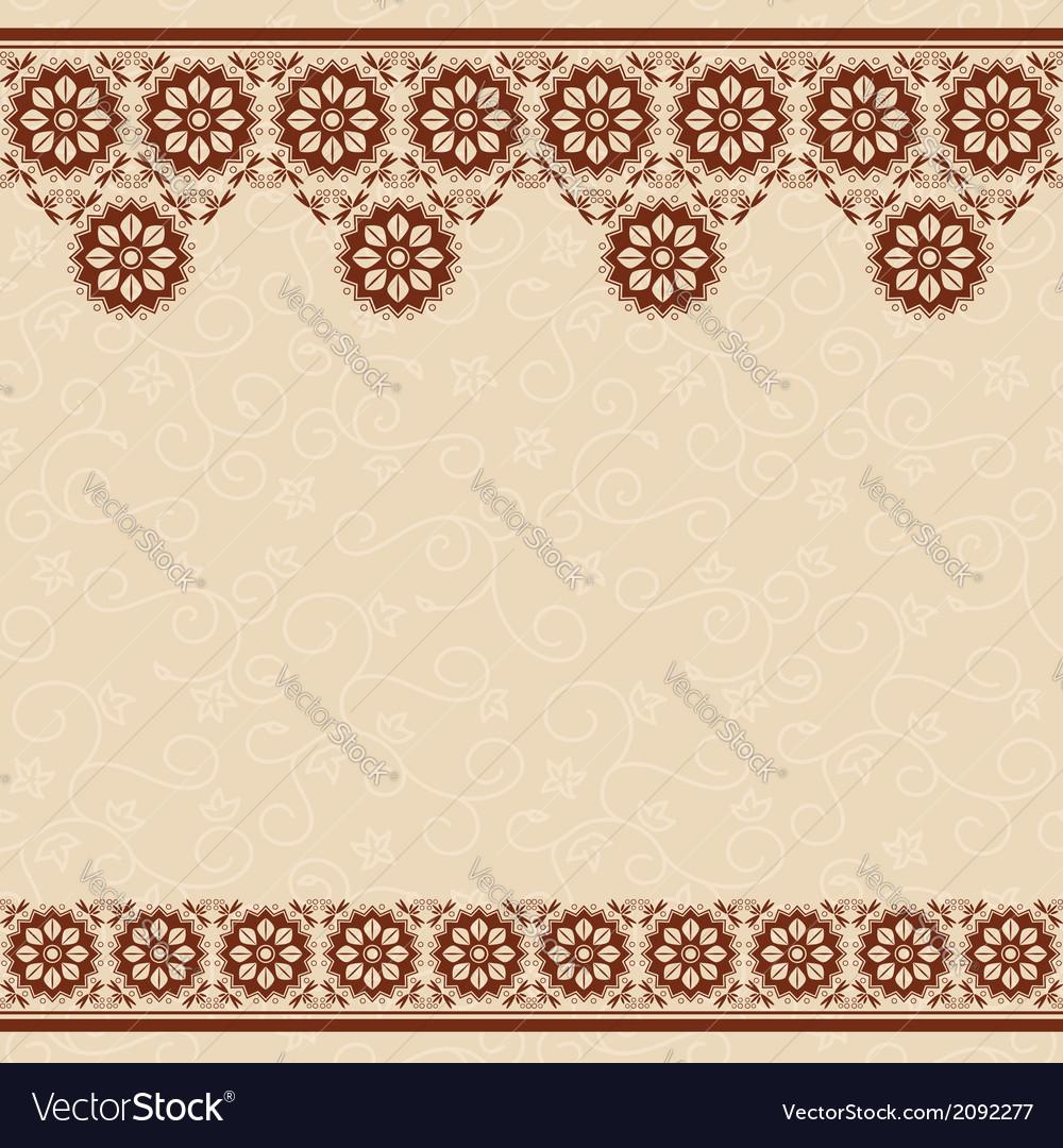beige seamless background with dark brown border vector image