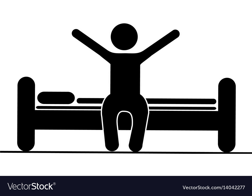 Black silhouette pictogram person in bed waking up