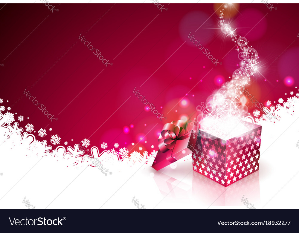Christmas on shiny red background