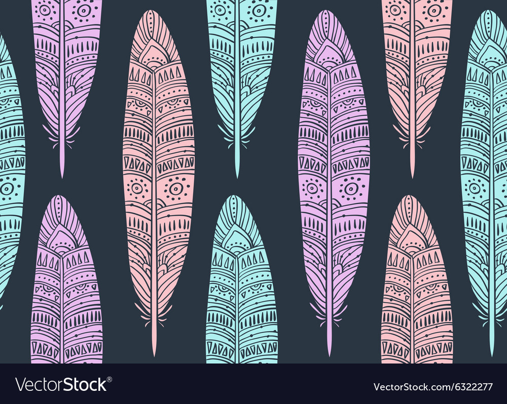 Ethnic seamless pattern with boho Feathers vector image