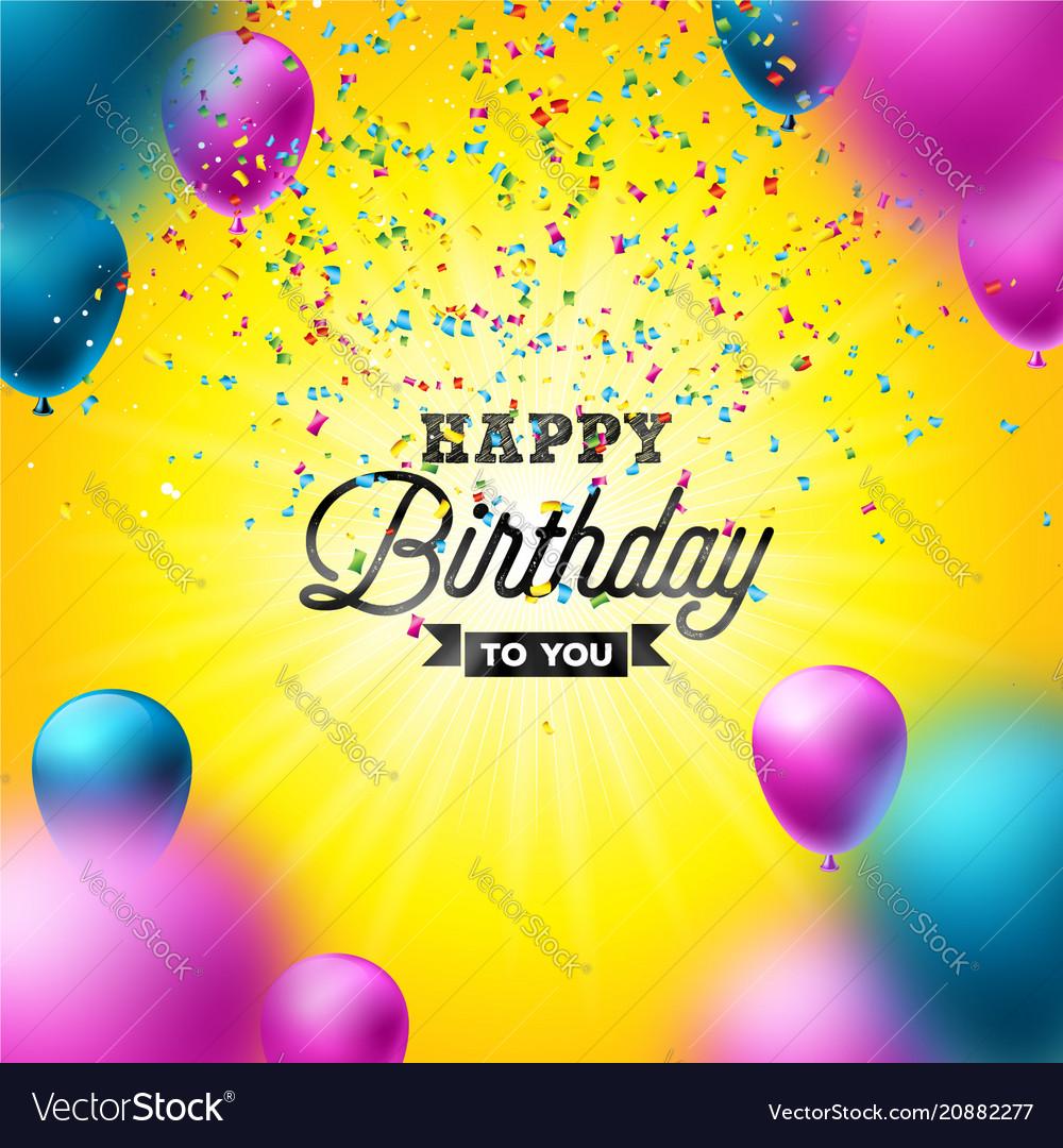 Happy birthday design with balloon