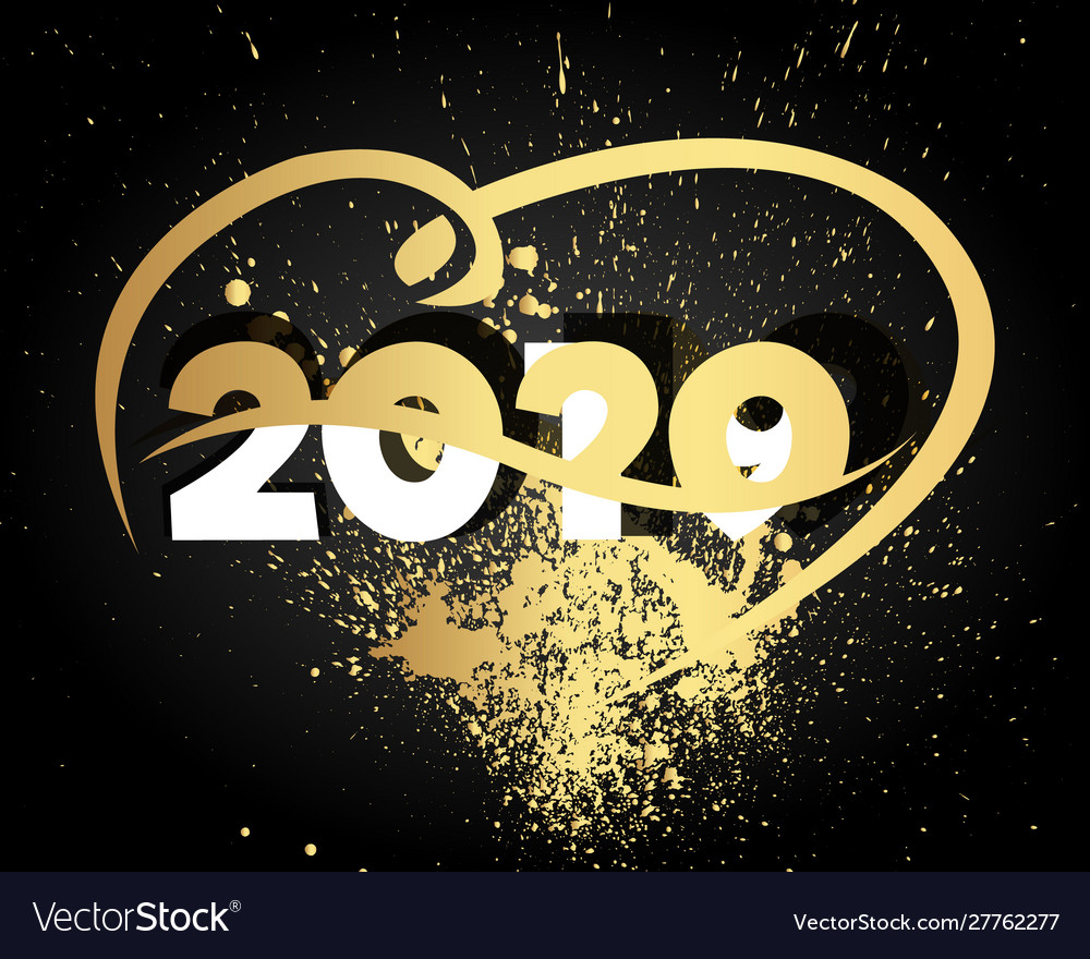 Happy new year 2020 with heart modern 2020 text