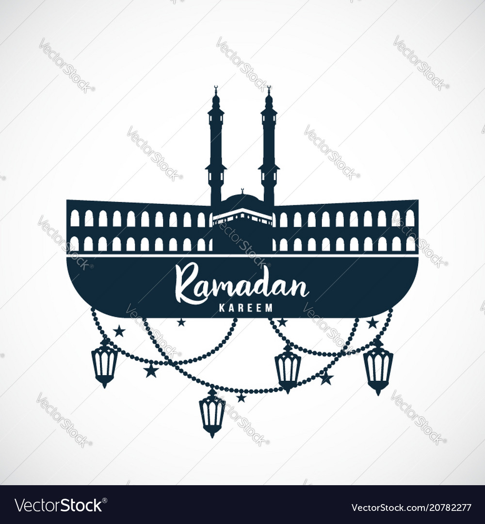Ramadan kareem sign of the mosque with hanging