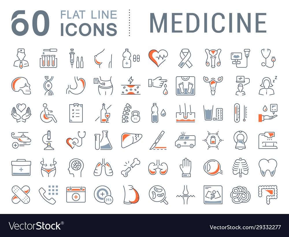 Set flat line icons medicine