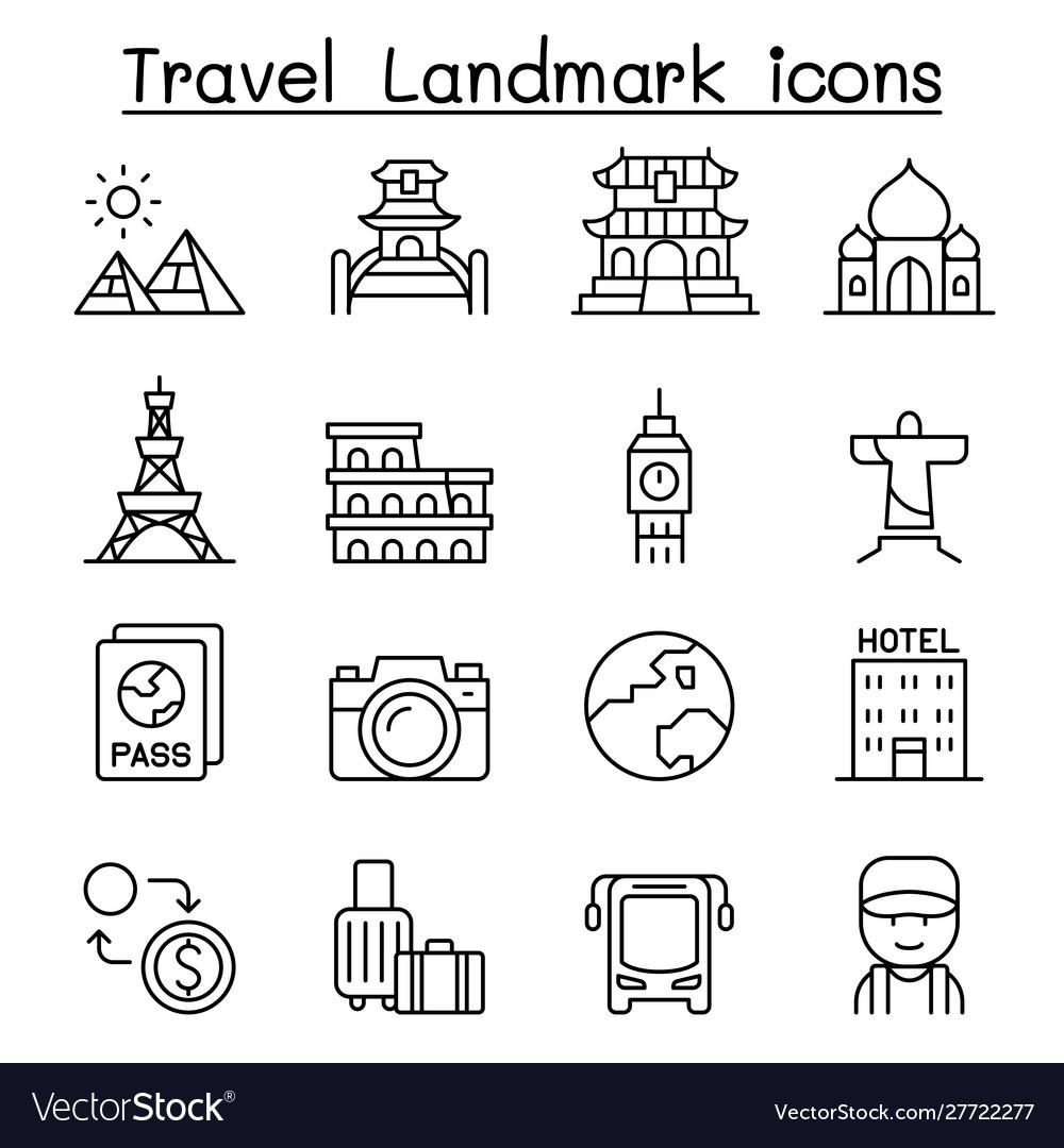 Travel landmark icon set in thin line style