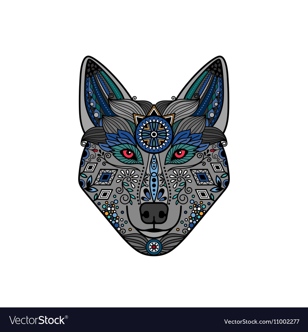 Wolf head in ethnic boho style
