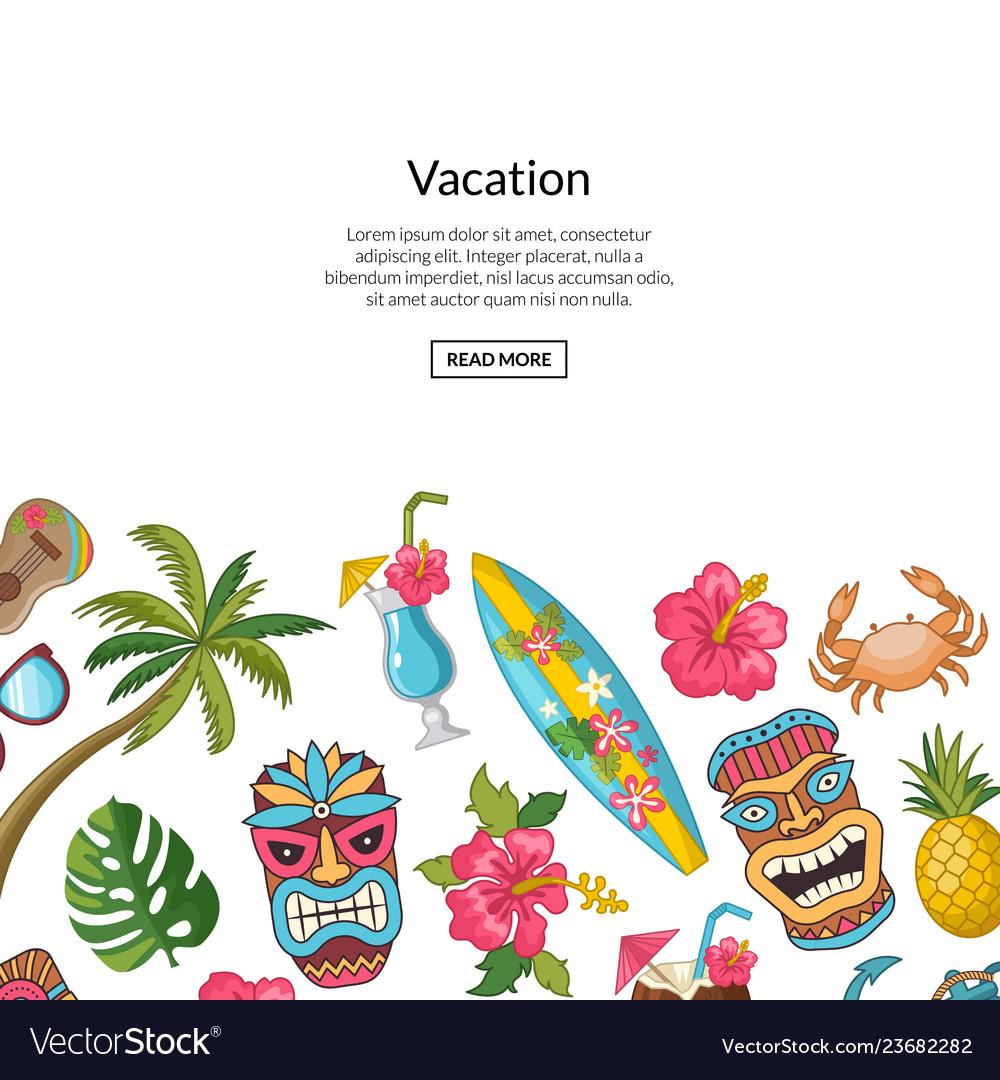 Cartoon summer travel elements background