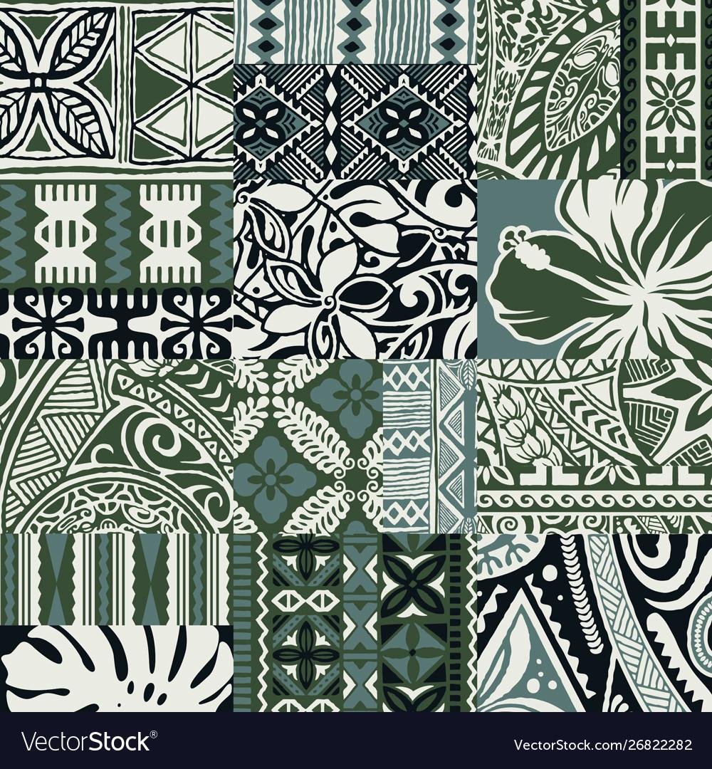 Hawaiian style tapa fabric patchwork tribal