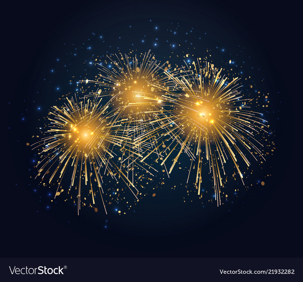 Holiday fireworks background happy new