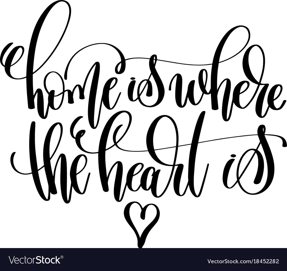 home is where the heart is hand lettering vector image