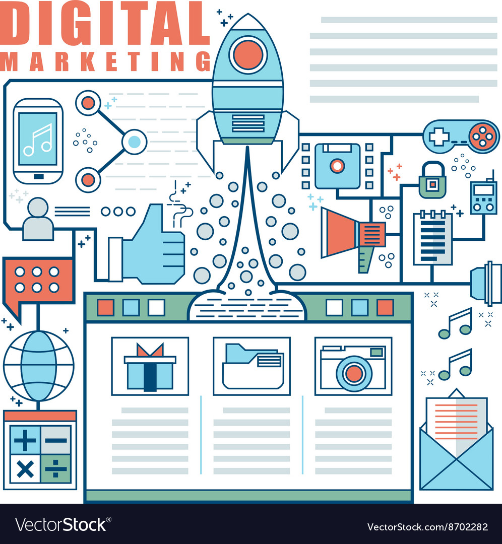 Infographics elements concept of Digital Market