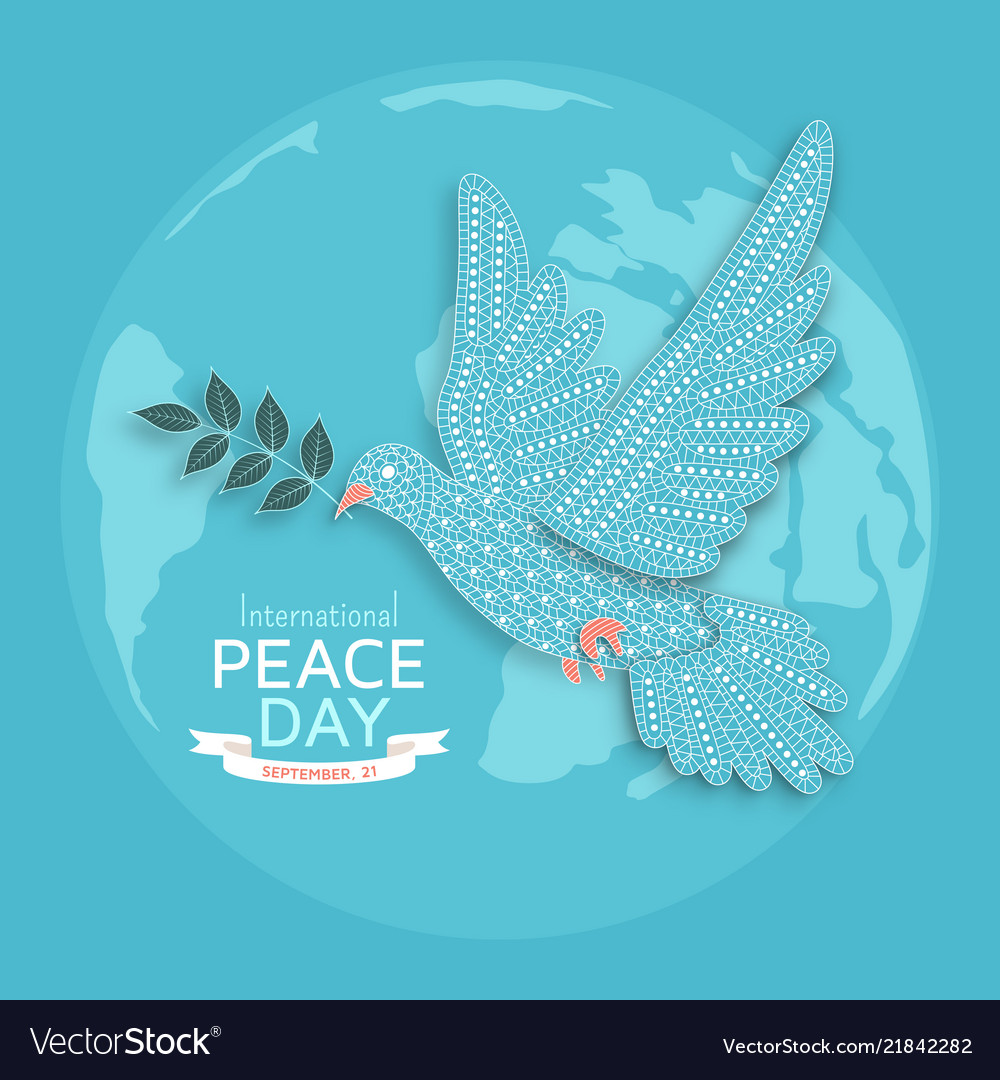 International peace day background with ornate