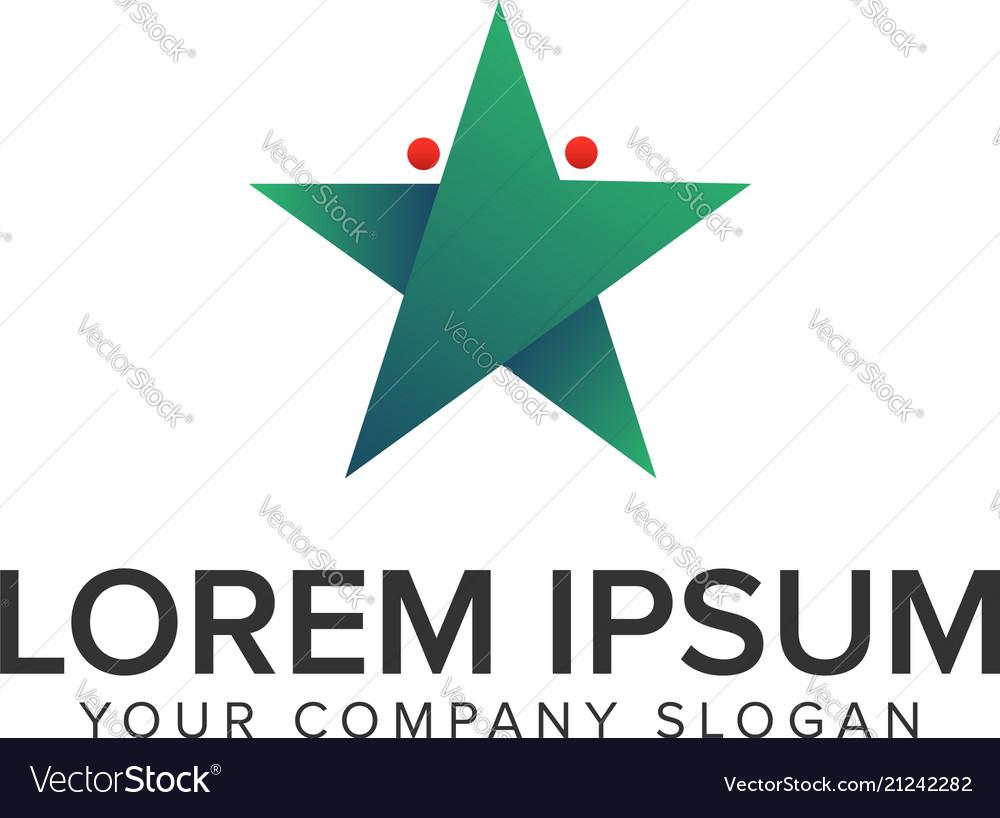Modern star people logo design concept template
