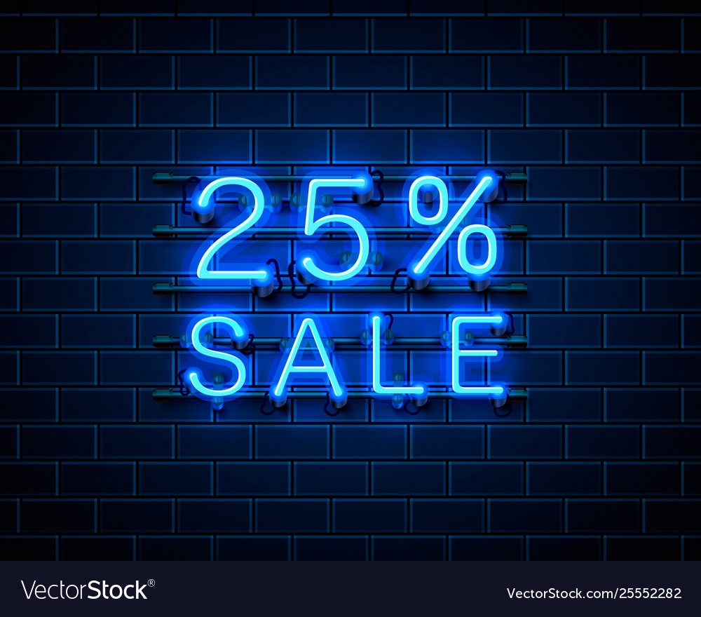Neon 25 sale text banner night sign