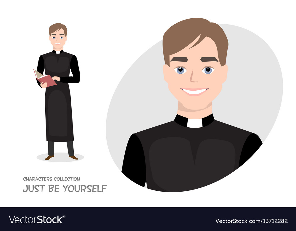 Priest in cassock with a bible in cartoon style