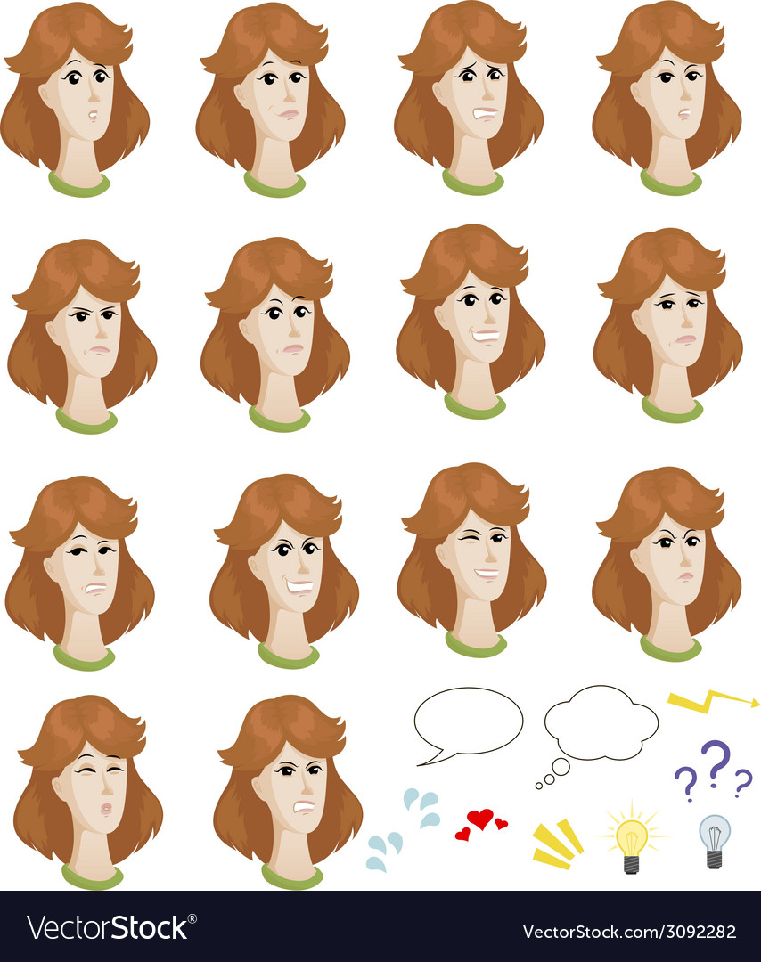 Set of cartoon caucasian female faces with vector image