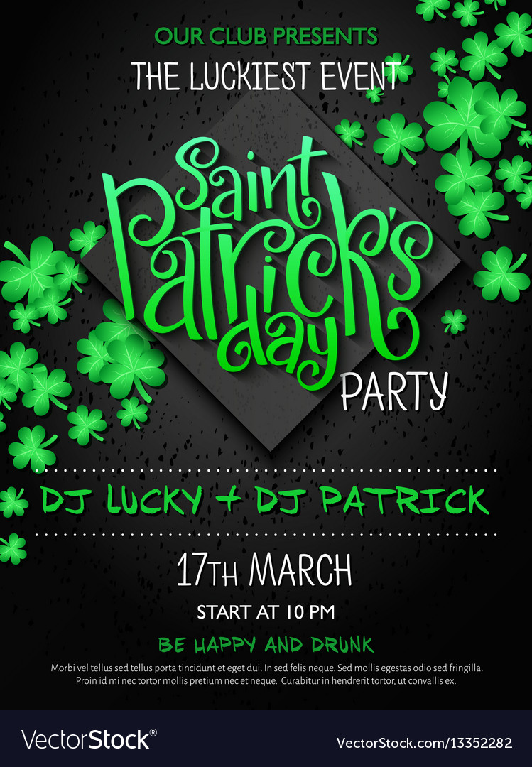 St patricks day party poster with lettering