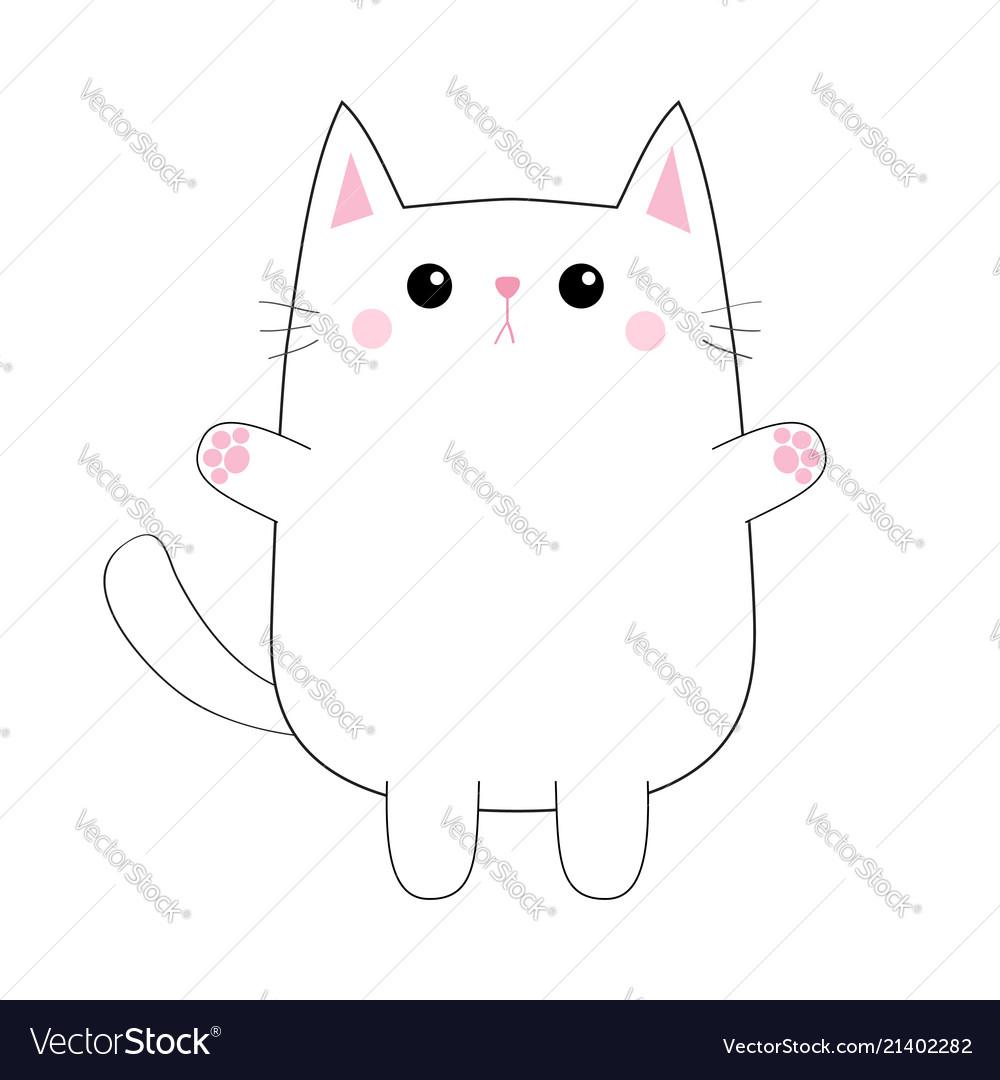 White cute sad cat baby kitten pink paw print