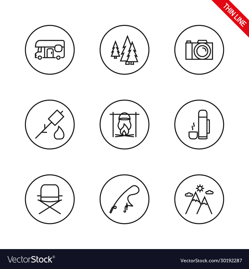 Camping universal icons set thin line