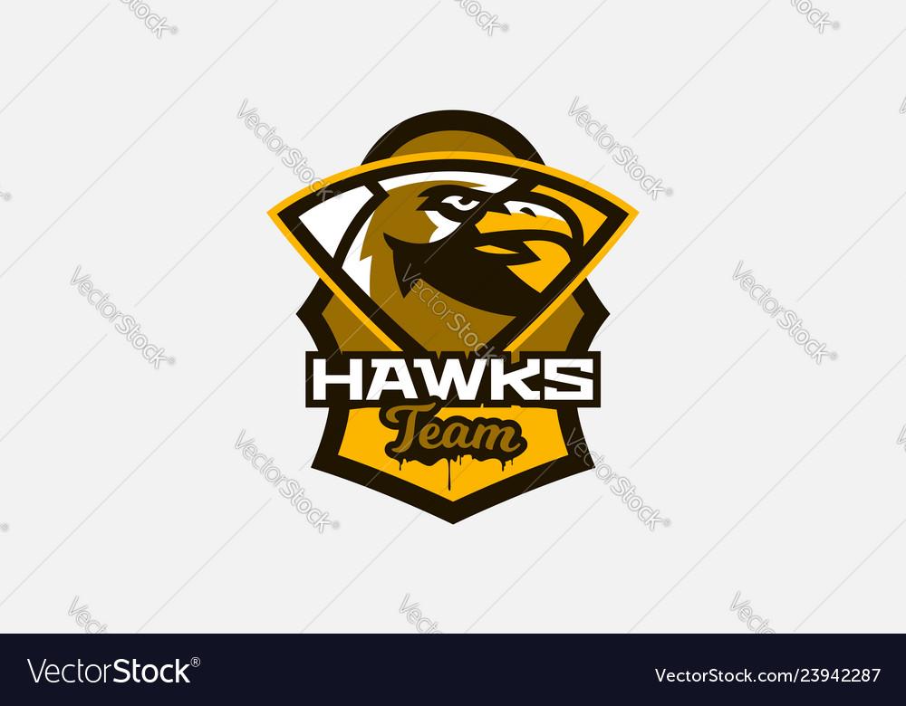 Colorful logo sticker emblem of a hawk head