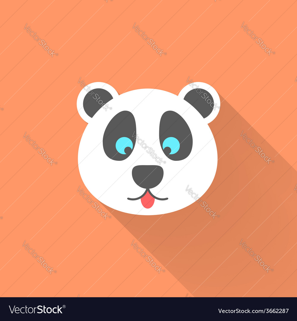 Cute panda icon with long shadow
