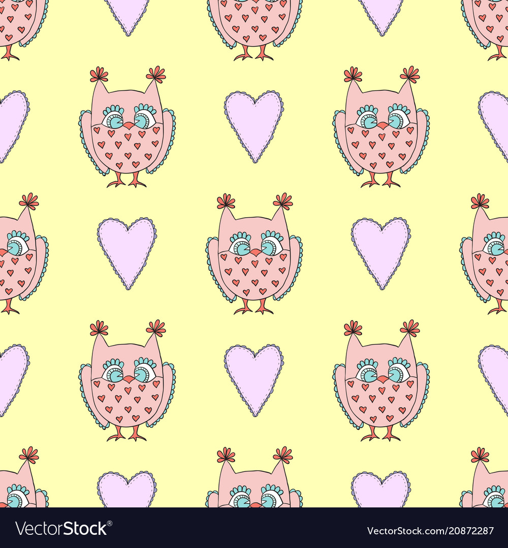 Cute seamless pattern with owls and heart