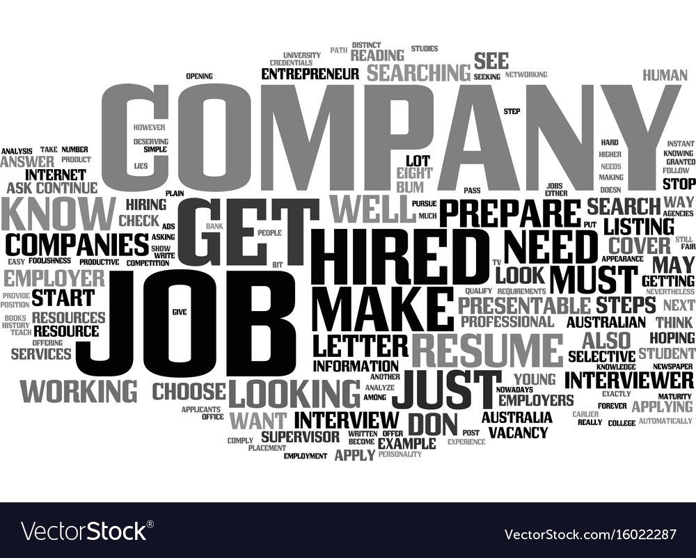 eight steps on how to get hired text background vector image