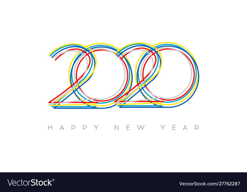 Happy new year 2020 modern bright 2020 text