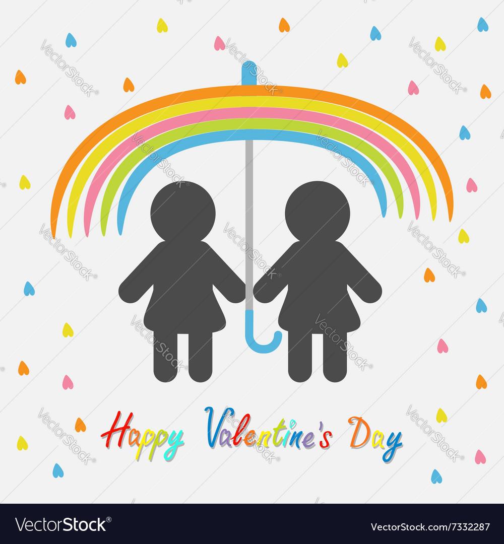 Happy Valentines Day Love card Rainbow umbrella