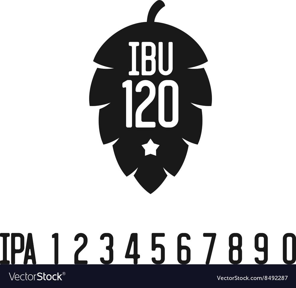 IBU index logo Hop pine black silhouette with