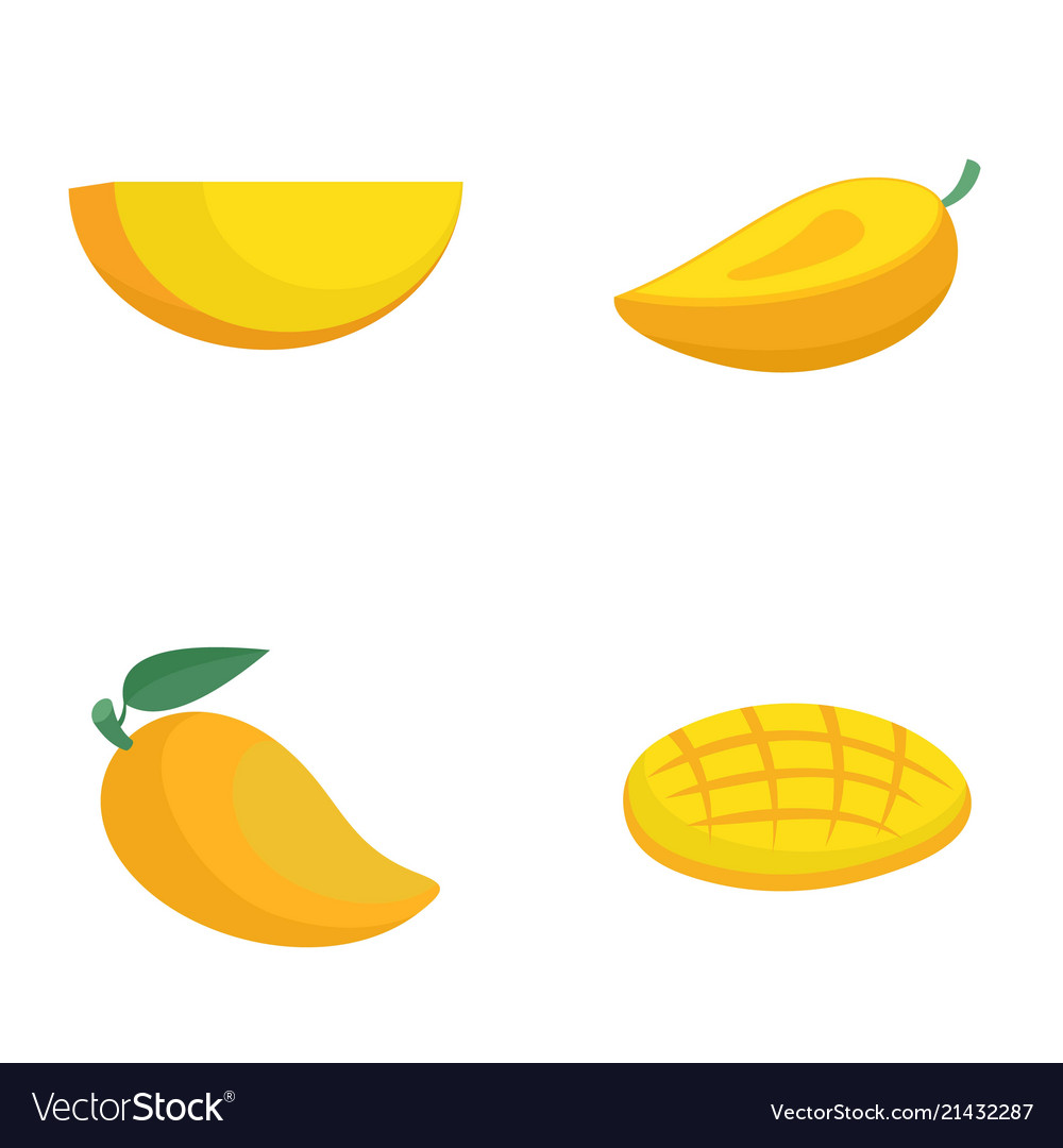 Mango fruit yellow icons set flat style