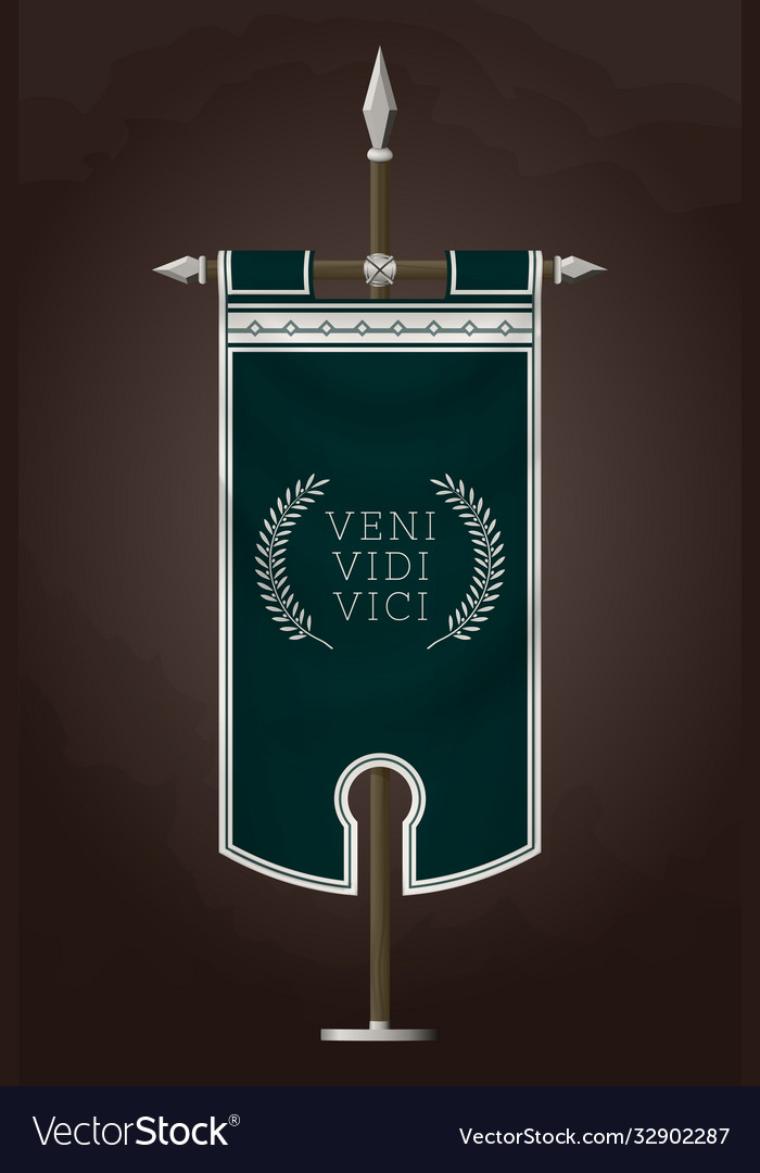 Medieval vertical banner with latin quote veni