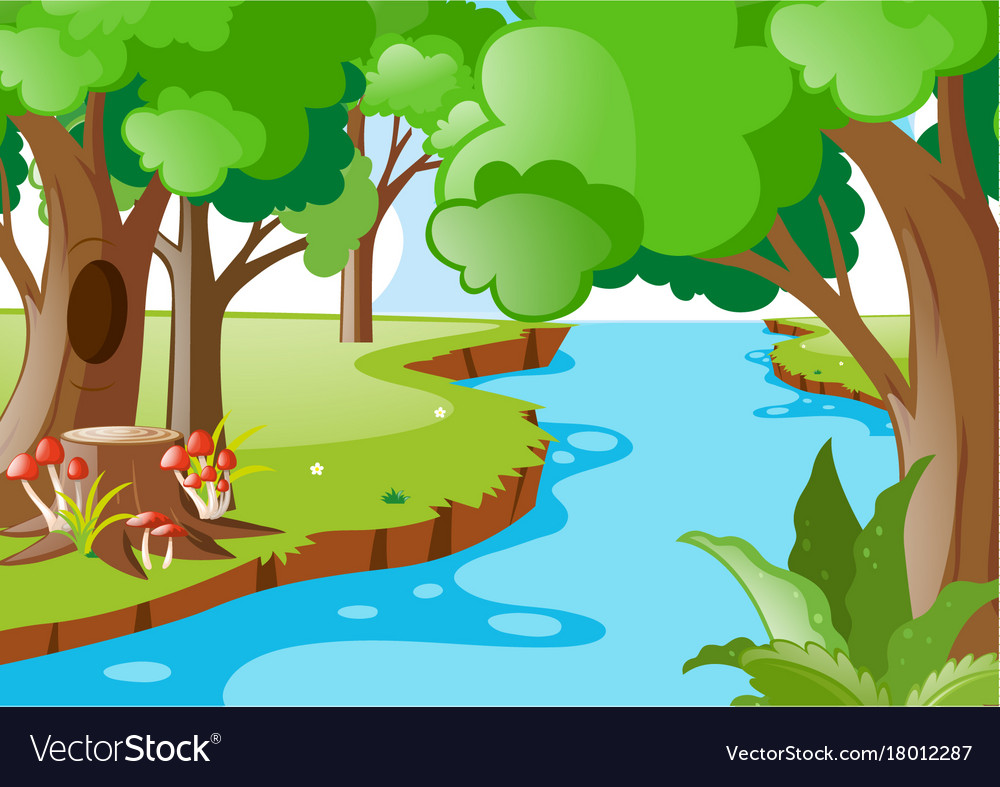nature scene with river in the forest royalty free vector rh vectorstock com clip art river tube clip art river rapids
