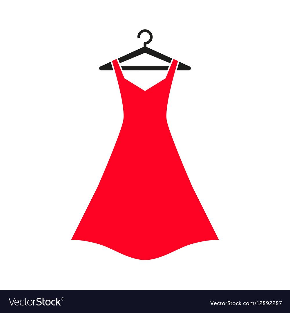 Red dress on hanger