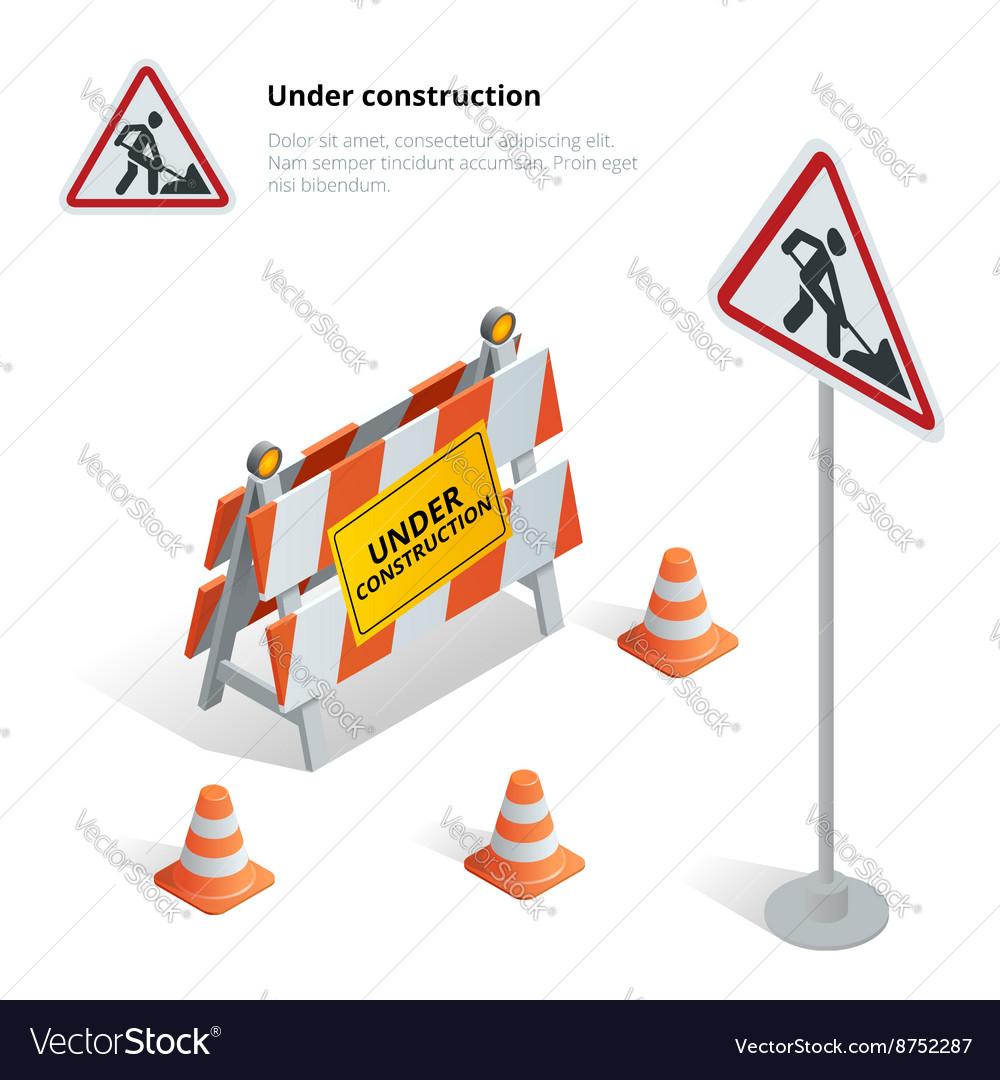 Road repair under construction road sign repairs