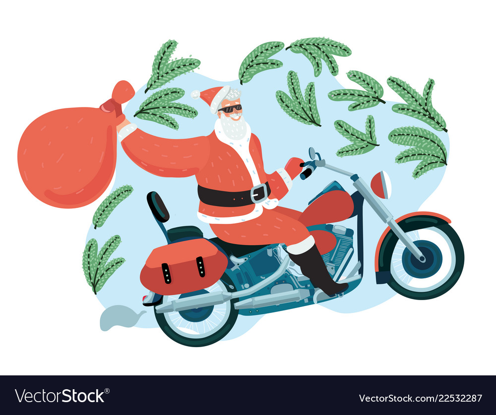 Santa claus with a gift sack riding a motorbike