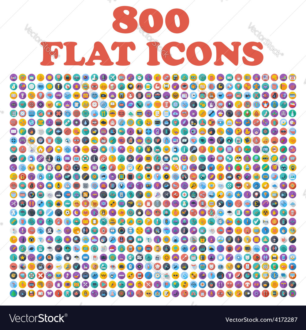 Set of 800 flat icons for web internet mobile
