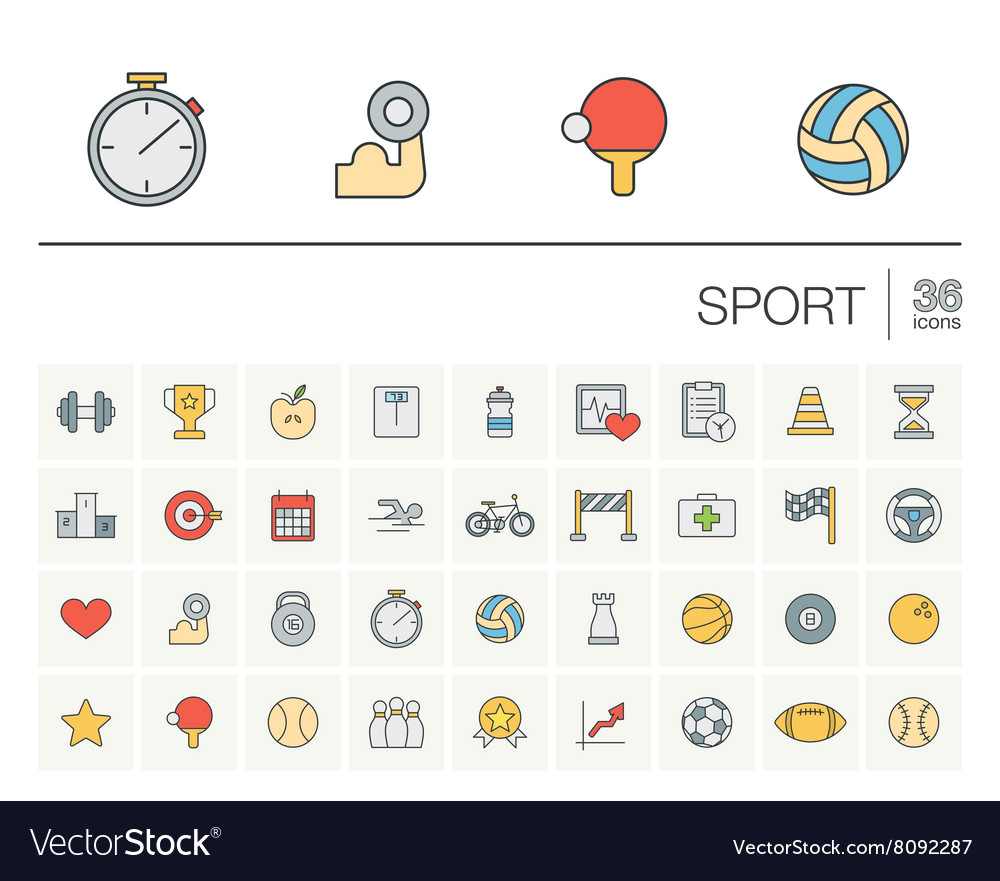 Sport and fitness color icons