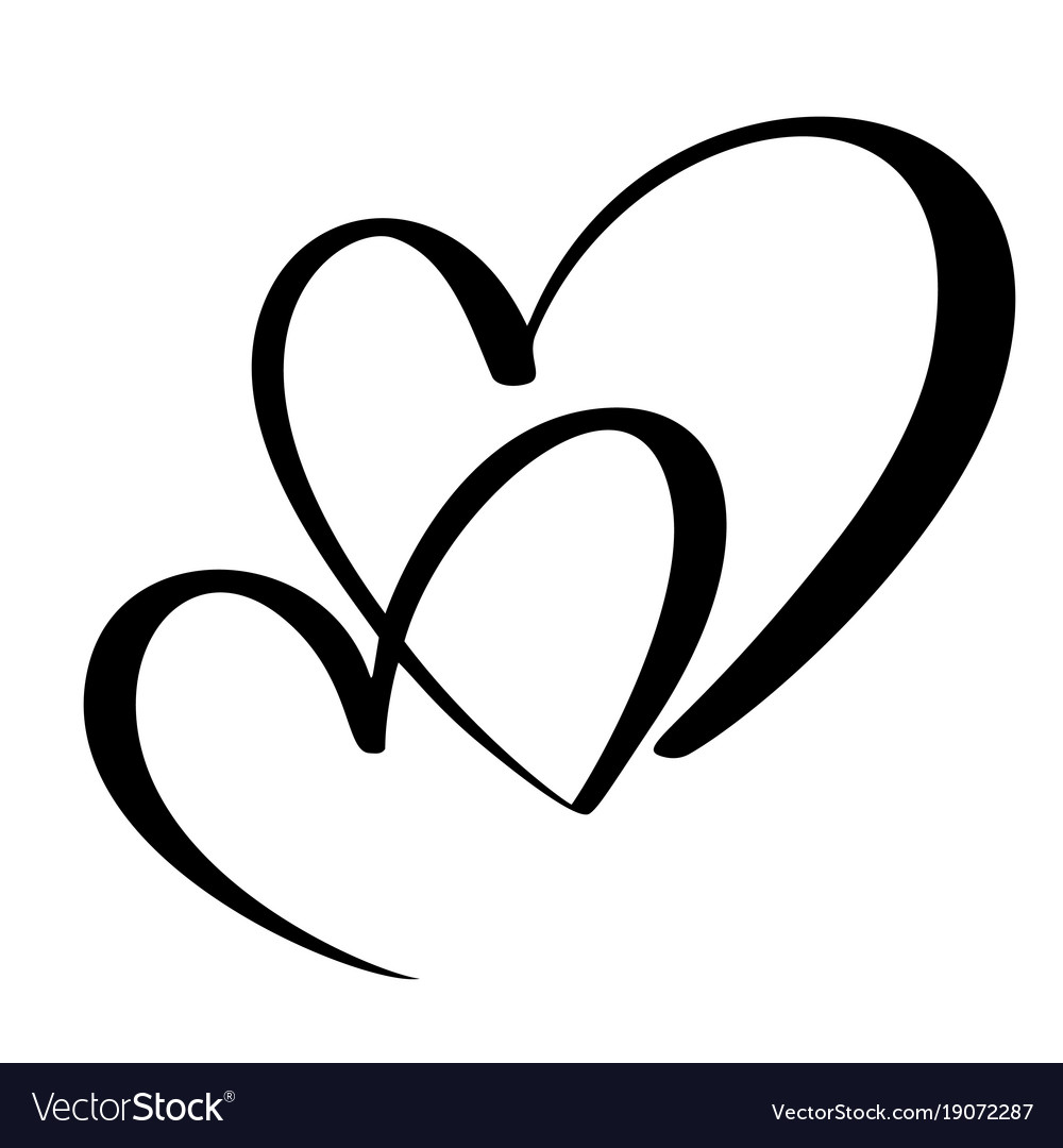 Two Lovers Heart Handmade Calligraphy Royalty Free Vector