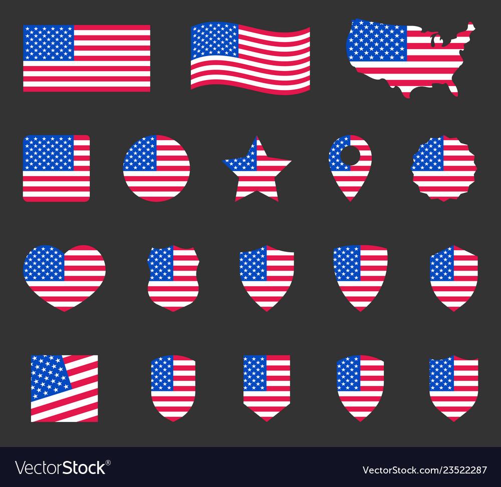 Usa flag symbols set united states america