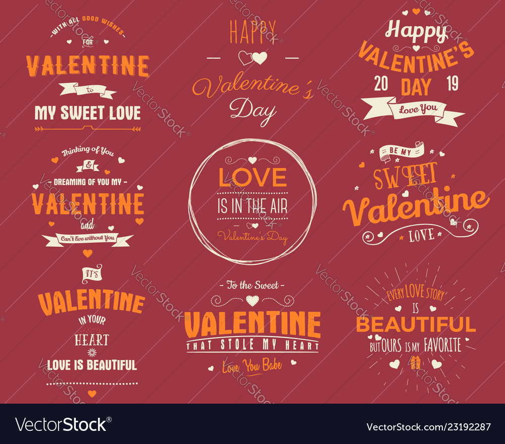Valentines day cards collection typography