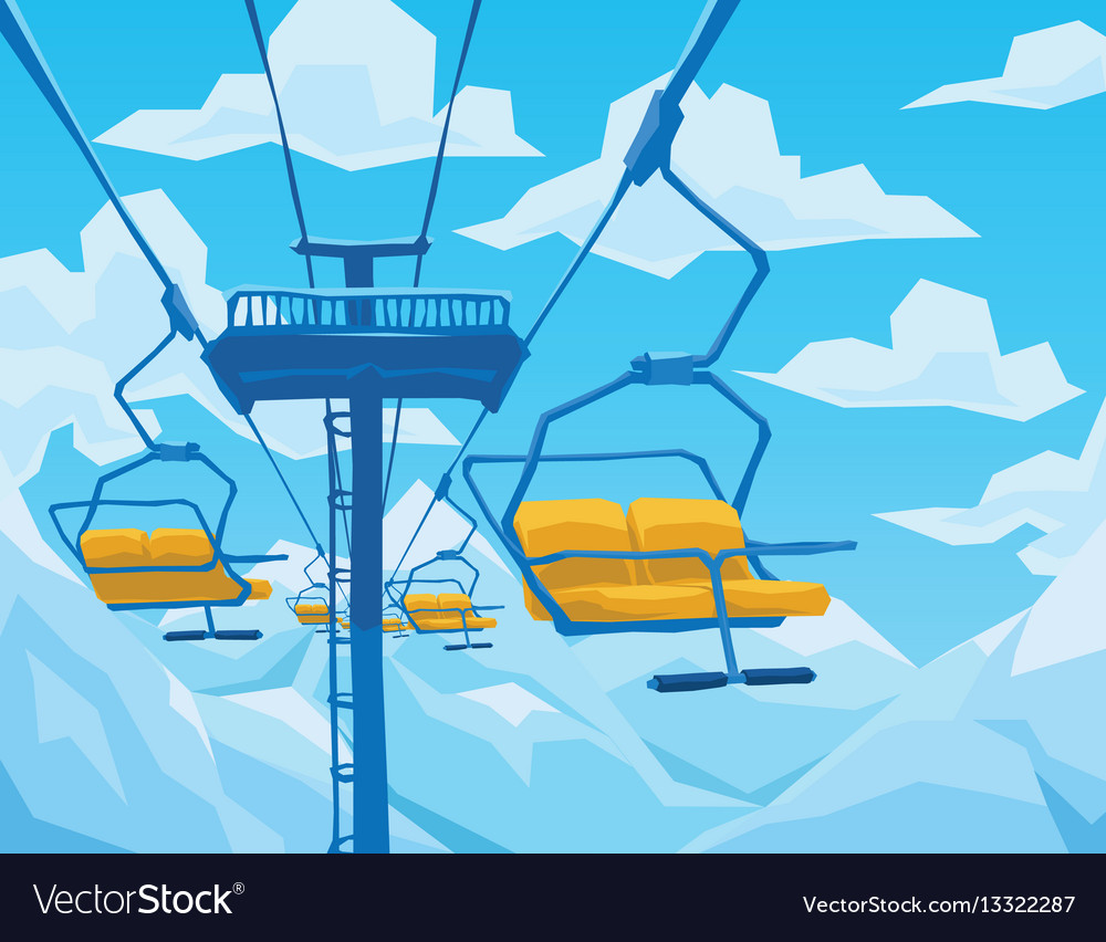Winter scene with ski lift mountains landscape