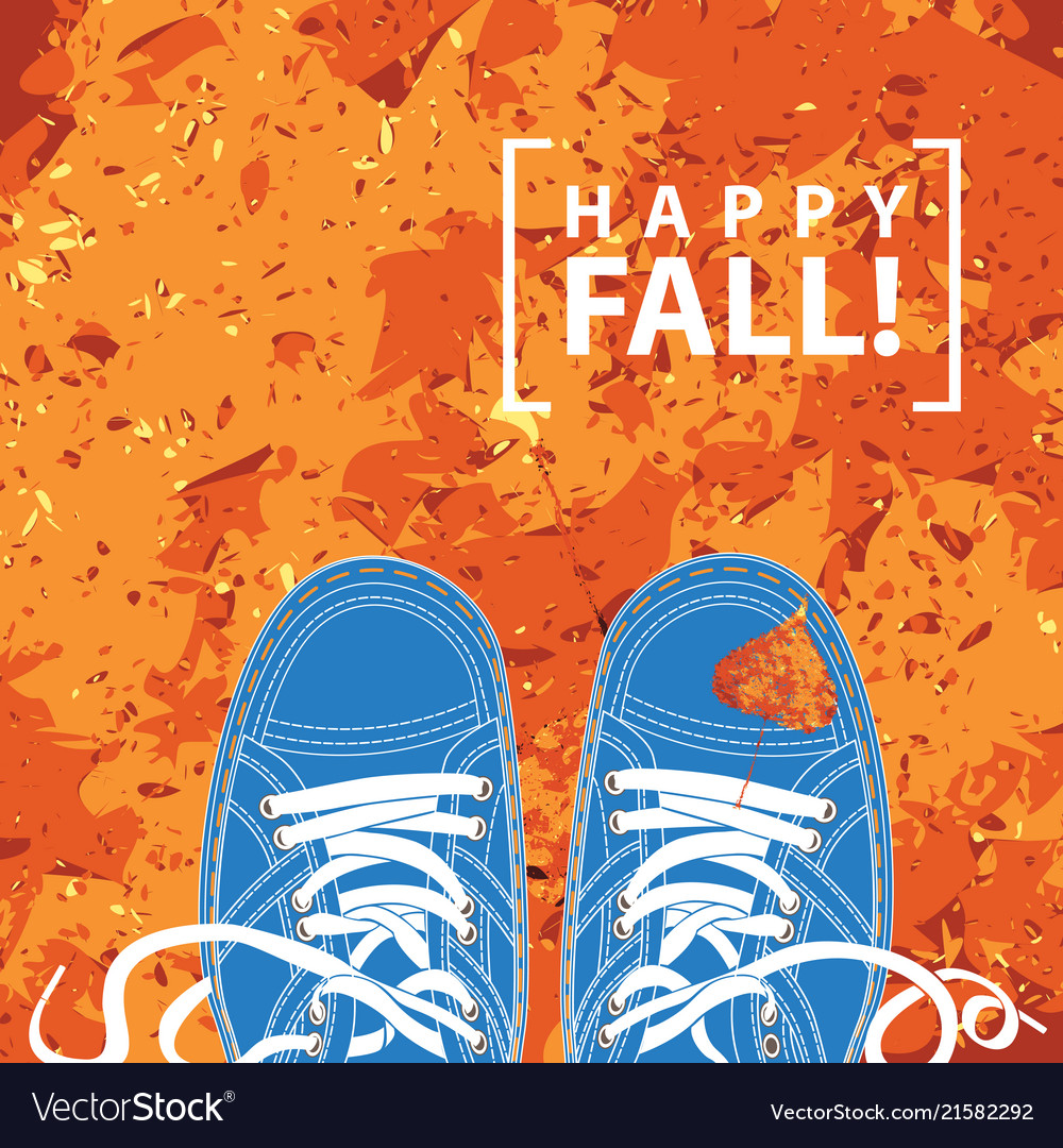 Banner with blue shoes and autumn leaves
