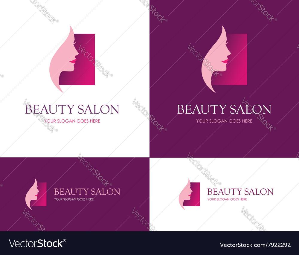 Beauty salon square logo vector image
