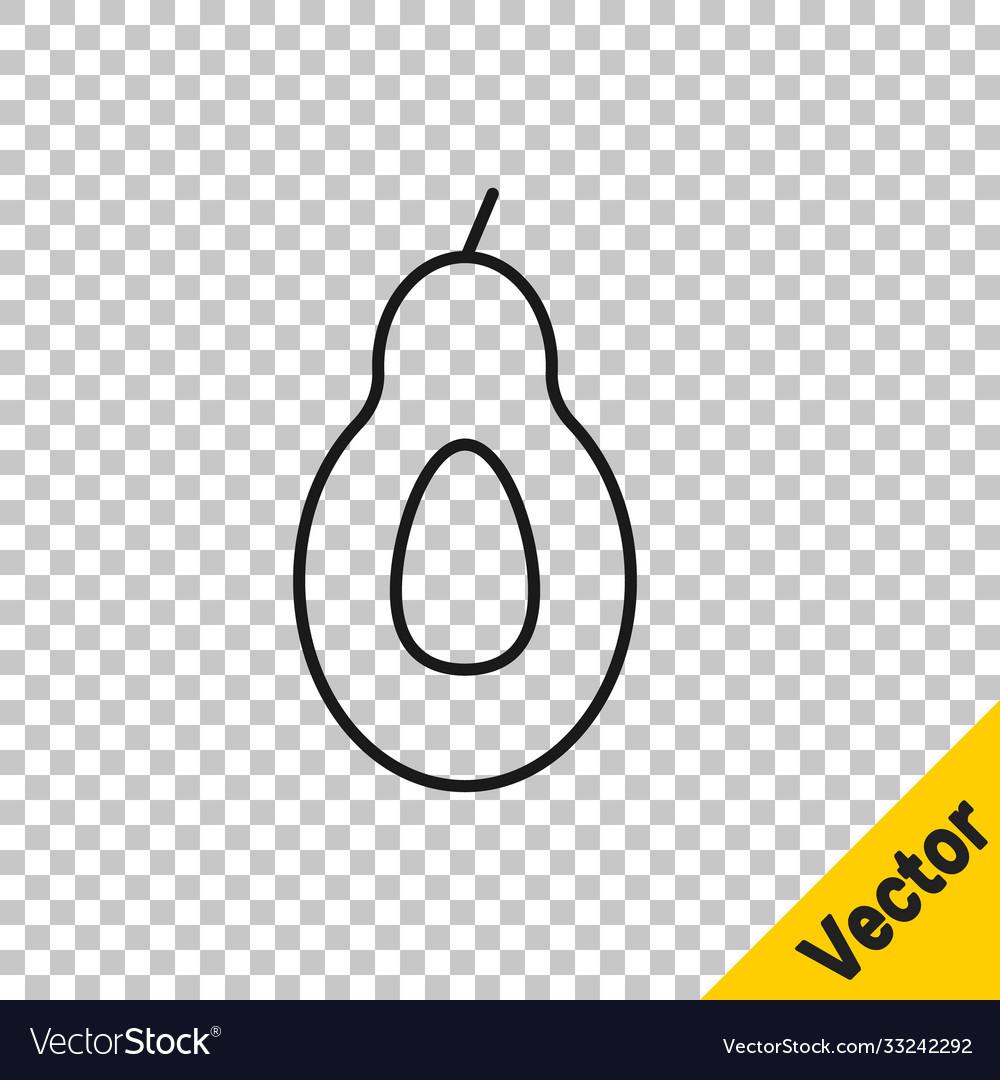 Black line avocado fruit icon isolated on