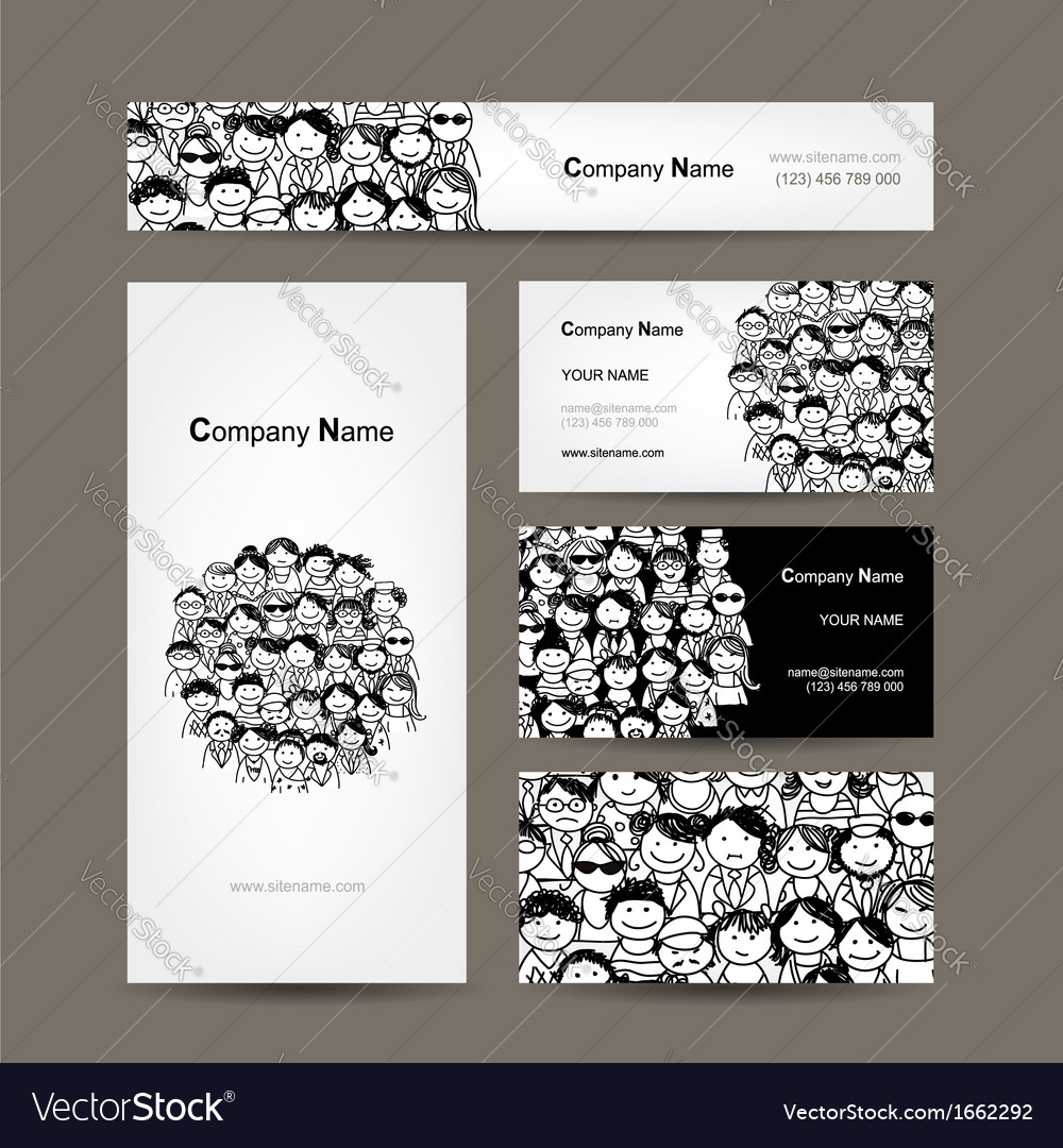 Business cards collection people crowd design