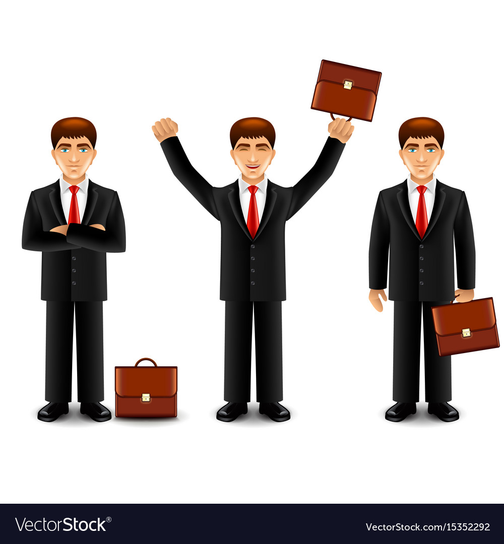 Businessman in suit with case isolated vector image