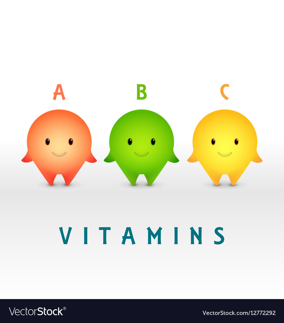 Cartoon characters Vitamin pills for healthy